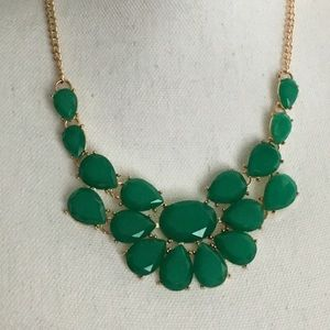 Teal Stone Teardrop Gold Statement Necklace